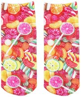 Jiayiqi Women Sweet Love Heart Candy 3D Picture Short Socks Springy Spandex Stocking