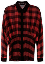 Barbara Bui Dolman Sleeve Plaid Blouse