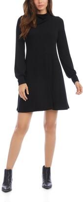 Karen Kane Drape Neck Long Sleeve A-Line Sweater Dress