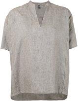 Eleventy mandarin V-neck blouse - women - Linen/Flax - 38
