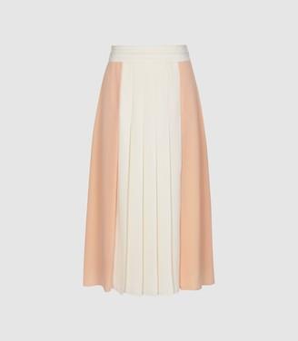 Reiss Abigail - Pleated Midi Skirt in Nude