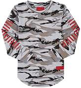 Haus of JR Striped-Sleeve Camouflage Jersey T-Shirt