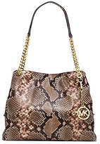Michael Kors Jet Set Large Embossed-Leather Shoulder Tote