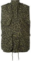 Saint Laurent leopard print military jacket - women - Cotton - 36