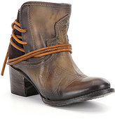 Freebird Casey Wrap-Around Leather Lacing Block Heel Booties