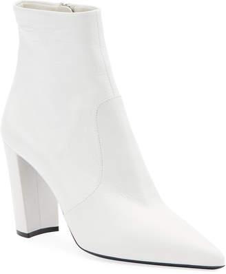 Prada Leather Zip Block-Heel Booties