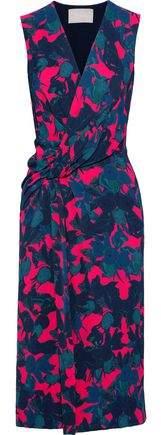 Jason Wu Wrap-effect Twist-front Floral-print Satin-crepe Midi Dress