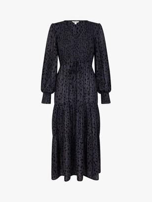 Monsoon Animal Print Midi Dress, Light Grey