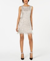 Adrianna Papell Petite Sequined & Beaded Fringe Dress