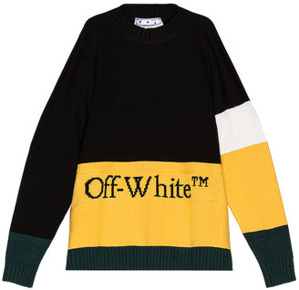 Off-White Color Block Off Crewneck Sweater in Black & Yellow | FWRD