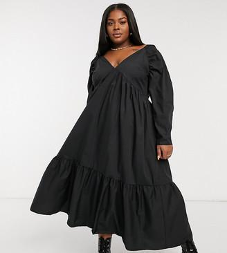 ASOS DESIGN Curve cotton babydoll midi dress with pephem in black