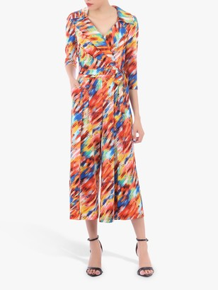 Jolie Moi Revere Collar Abstract Print Jumpsuit, Orange/Multi