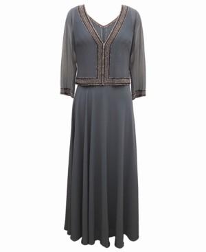 J Kara Embellished Chiffon Jacket & Dress Set