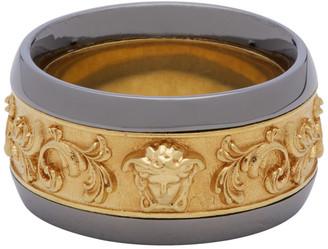 Versace Gold and Gunmetal Brocade Ring