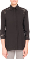 Altuzarra Studded-Trim 3/4-Sleeve Blouse, Black