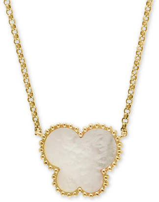 """Effy Mother-of-Pearl Butterfly 18"""" Pendant Necklace in 14k Yellow Gold"""