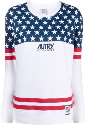 AUTRY Contrast Panel Flag Print Sweatshirt