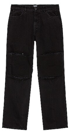 Thumbnail for your product : Raf Simons Relaxed Fit Denim Pants With Cut Out Knee Patches in Black