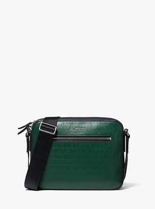 Michael Kors Hudson Logo Debossed Leather Camera Bag