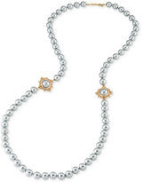 Carolee Gold-Tone Long Gray Imitation Pearl Necklace