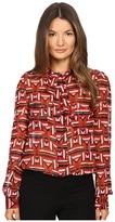 Just Cavalli Sonya Print Bow Blouse w/ Chest Pockets Women's Blouse