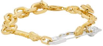 Versace Gold and Silver Medusa Safety Bracelet