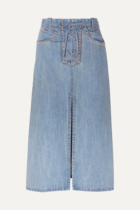 Miu Miu Lace-up Studded Denim Midi Skirt - Indigo
