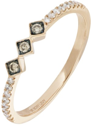 Bony Levy Prism 18K RoseGold Pave White & Brown Diamond Station Ring - Size 7 - 0.12 ctw