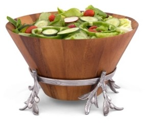 Arthur Court Acacia Wood Salad Bowl in Metal Stand, Sand-Cast Aluminum Stand in Olive Pattern