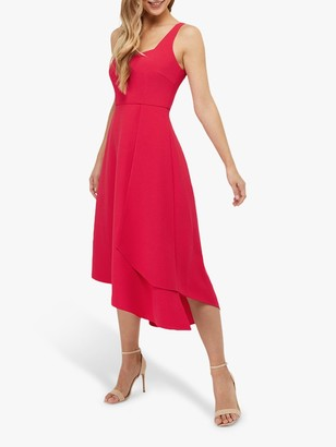 Monsoon Poppy Plain Midi Dress, Raspberry