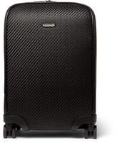 Ermenegildo Zegna Pelle Tessuta Leather Carry-on Suitcase - Black