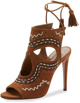 Aquazzura Sexy Thing Folk Cutout 105mm Sandal, Cognac