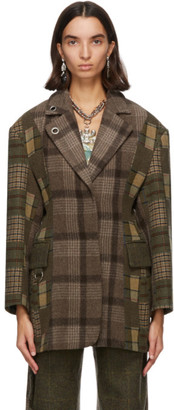 Rave Review Green Wool Deadstock Check Coat