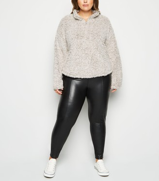 New Look Curves Faux Teddy Fur Zip Sweatshirt