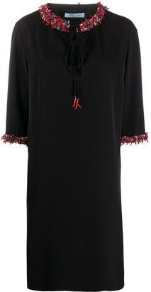 Blumarine Embellished-Collar Mini Dress