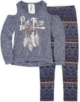 Knitworks Knit Works Cold Shoulder Long Sleeve Fashion Top Legging Set- Girls' 7-16 & Plus