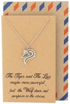 Quan Jewelry Best Gifts Wolf Necklace, Inspirational Quote on Greeting Card, Gifts for Her