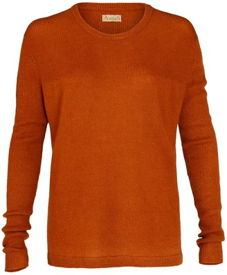 Asneh Beverly Brown Cashmere Sweater With Rib Details