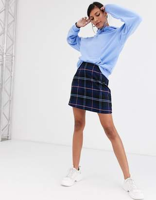 Monki A-line mini skirt with check print in dark blue two-piece-Navy