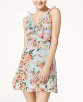Speechless Juniors' Printed Ruffle-Trim Surplice Dress