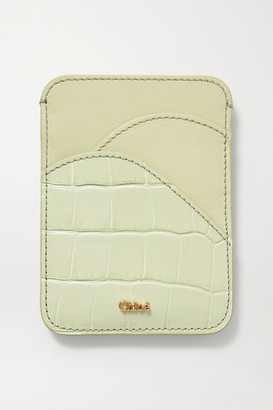 Chloé Walden Smooth And Croc-effect Leather Cardholder - Gray green