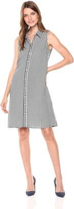 MSK Women's Sleevless Checkered Woven Shirt Dress with Pearl Buttons