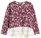 H&M Top with Lace Flounce - Burgundy/floral - Kids