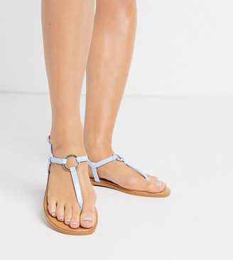 Asos DESIGN Wide Fit Valentina ring flat sandals in blue