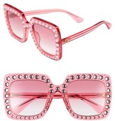 Gucci Women's 53Mm Crystal Embellished Square Sunglasses - Pink/ Pink