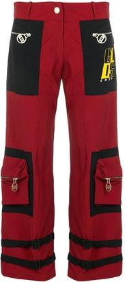 GCDS buckle strap detail cropped trousers