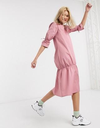Damson Madder organic cotton midi dress with peplum hem