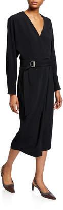 Brunello Cucinelli Long-Sleeve Dress with Monili D-Ring Belt