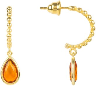 Latelita Palermo Beaded Hoop Gemstone Drop Earring Citrine Gold