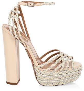 Aquazzura Cozumel Braided Platform Sandals
